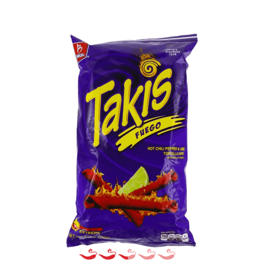 Barcel Takis Fuego Hot Chilli Pepper & Lime Tortilla Chips ChilliBOM Hot Sauce Store Hot Sauce Club Australia Chilli Sauce Subscription Club Gifts SHU Scoville
