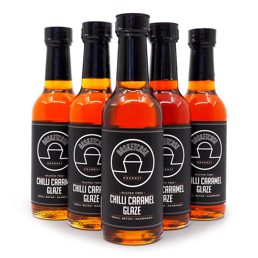 Basketcase Gourmet Chilli Caramel Glaze 250ml ChilliBOM Hot Sauce Store Hot Sauce Club Australia Chilli Sauce Subscription Club Gifts SHU Scoville group2