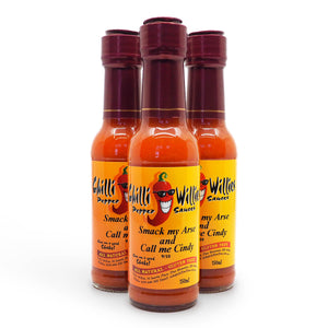 Chilli Willies Smack my Arse and Call me Cindy Hot Sauce 150ml group ChilliBOM Hot Sauce Club Australia Chilli Subscription Gifts SHU Scoville