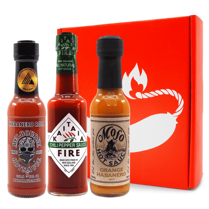 3 bottle Gift Pack ChilliBOM Hot Sauce Club Australia Chilli Subscription Gifts SHU Scoville