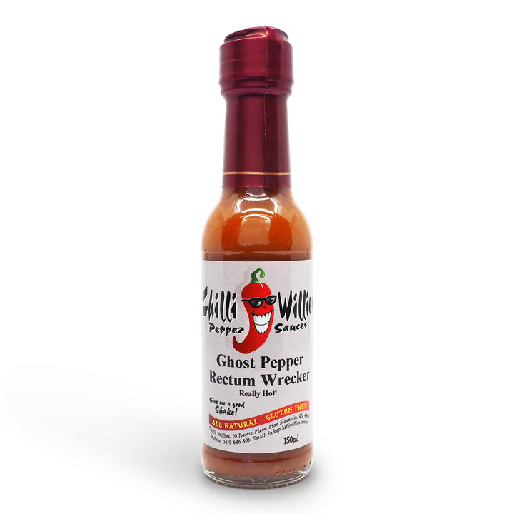 Chilli Willies Ghost Pepper Rectum Wrecker Hot Sauce 150ml ChilliBOM Hot Sauce Club Australia Chilli Subscription Gifts SHU Scoville