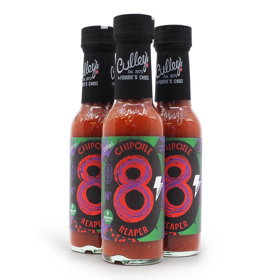 Culley's No 8 Chipotle Reaper 150ml ChilliBOM Hot Sauce Store Hot Sauce Club Australia Chilli Sauce Subscription Club Gifts SHU Scoville group2