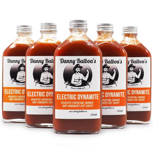 Danny Balboa's Electric Dynamite 200ml group2 ChilliBOM Hot Sauce Club Australia Chilli Subscription Gifts SHU Scoville