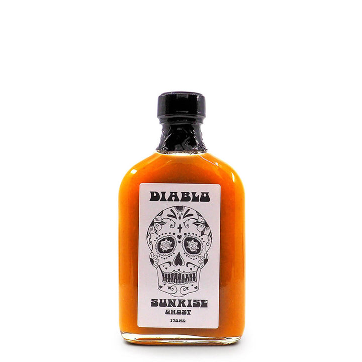Diablo Sunrise Ghost Hot Sauce 170ml ChilliBOM Hot Sauce Club Australia Bhut Jolokia Chilli Subscription Gifts SHU Scoville