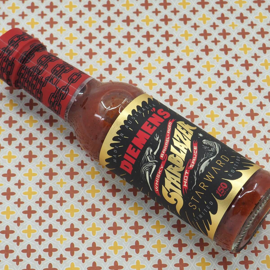 Diemen's Starblazer Limited edition Hot Sauce 150ml Whisky Whiskey ChilliBOM Hot Sauce Club Australia Chilli Subscription Gifts SHU Scoville