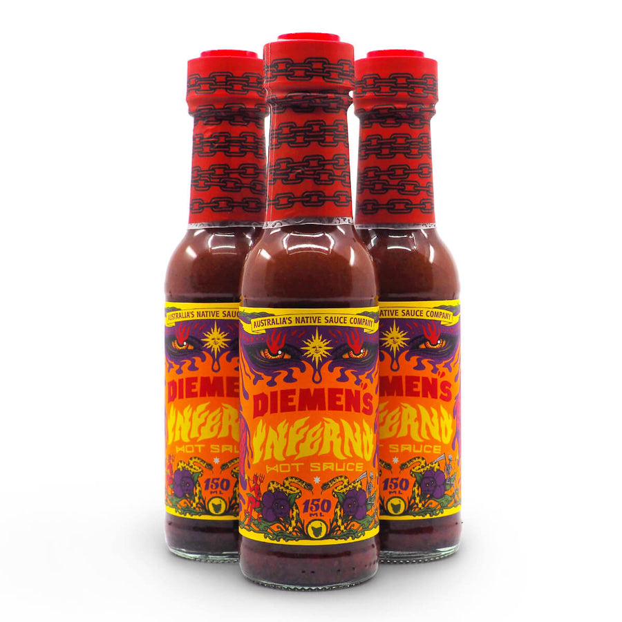 Diemen's Inferno Hot Sauce 150ml group ChilliBOM Hot Sauce Club Australia Chilli Subscription Gifts SHU Scoville