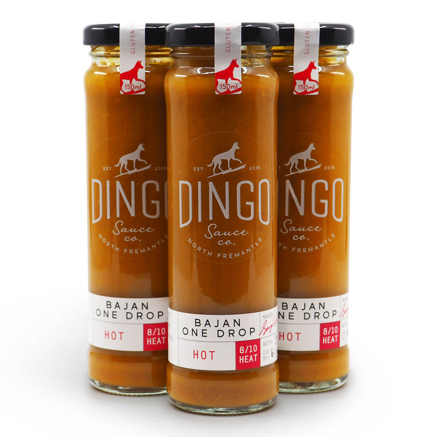 Dingo Sauce Co Bajan One Drop 150ml group ChilliBOM Hot Sauce Club Australia Chilli Subscription Gifts SHU Scoville