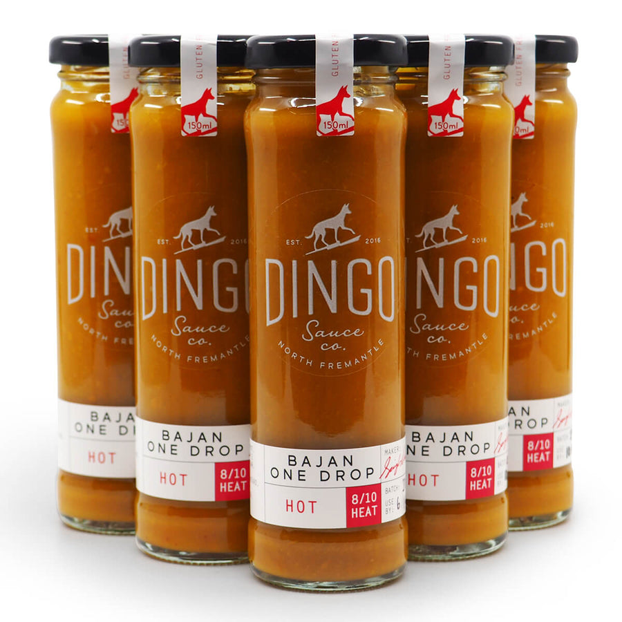 Dingo Sauce Co Bajan One Drop 150ml group2 ChilliBOM Hot Sauce Club Australia Chilli Subscription Gifts SHU Scoville