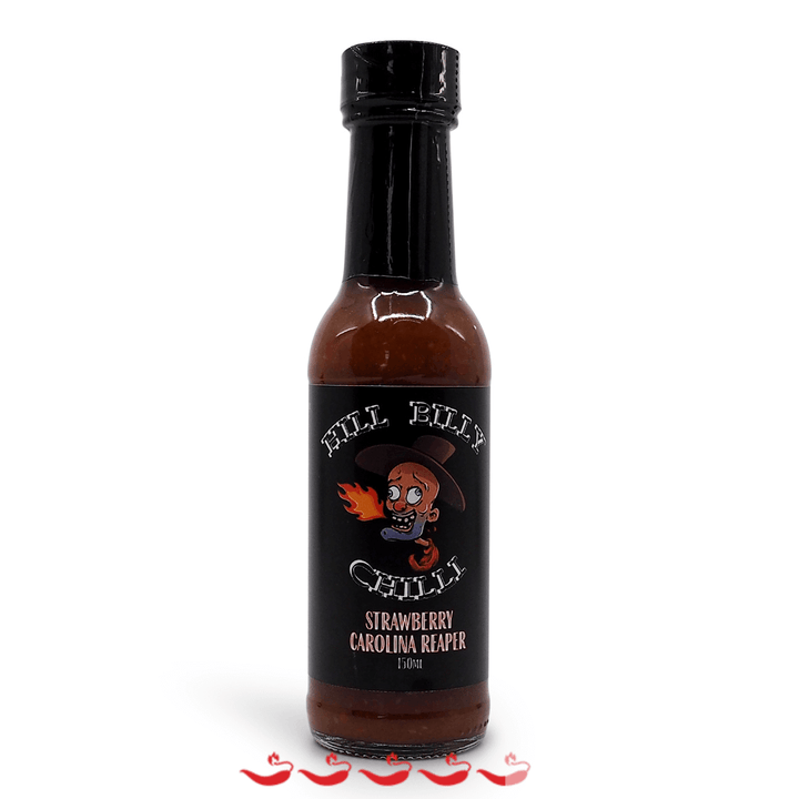 Hill Billy Chilli Strawberry Carolina Reaper Hot Sauce 150ml ChilliBOM Hot Sauce Store Hot Sauce Club Australia Chilli Sauce Subscription Club Gifts SHU Scoville