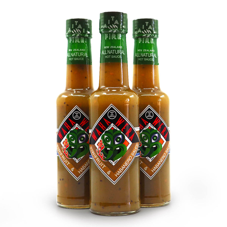 Kaitaia Fire Waha Wera Kiwifruit and Habanero Hot Sauce 150ml group ChilliBOM Hot Sauce Club Australia Chilli Subscription Gifts SHU Scoville