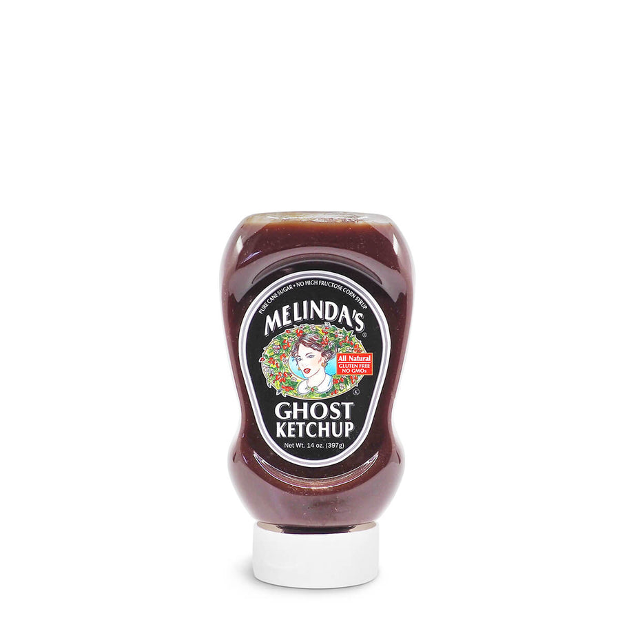 Melinda's Ghost Ketchup 397g ChilliBOM Hot Sauce Club Australia Chilli Subscription Gifts SHU Scoville squeeze