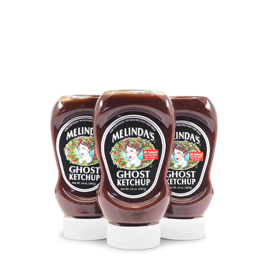 Melinda's Ghost Ketchup 397g ChilliBOM Hot Sauce Club Australia Chilli Subscription Gifts SHU Scoville squeeze group