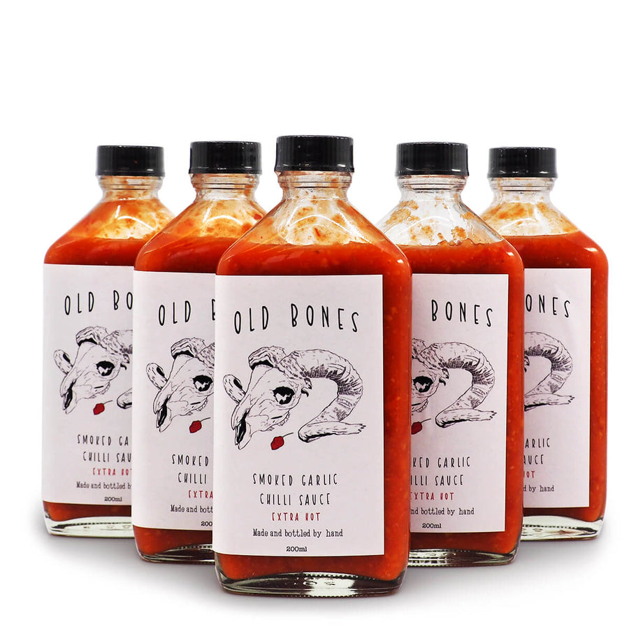 Old Bones Smoked Garlic Chilli Sauce Extra Hot 200ml ChilliBOM Hot Sauce Store Hot Sauce Club Australia Chilli Sauce Subscription Club Gifts SHU Scoville group2