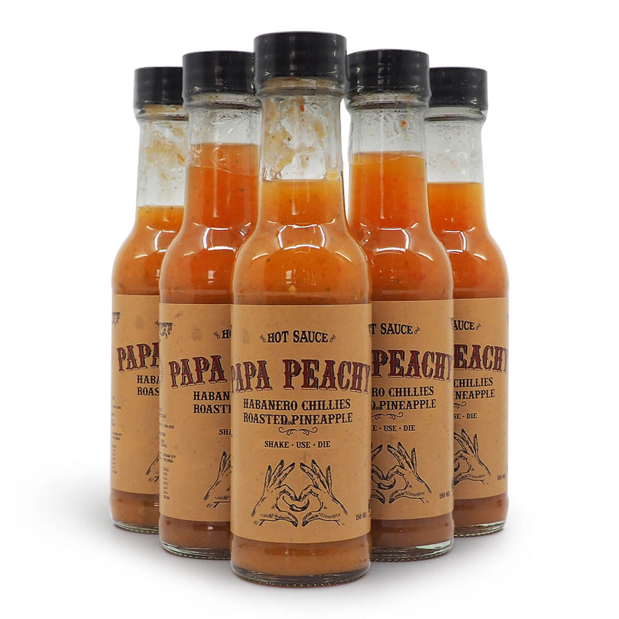 Papa Peachy Habanero Chillies & Roasted Pineapple 150ml ChilliBOM Hot Sauce Store Hot Sauce Club Australia Chilli Sauce Subscription Club Gifts SHU Scoville saucemania