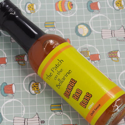 The Patch on the Bellarine Orange Hab Bliss 150ml stylised ChilliBOM Hot Sauce Club Australia Gifts Chilli Subscription Box