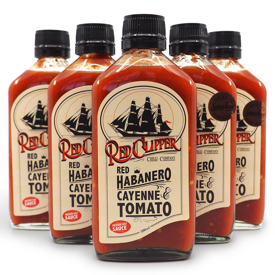 Red Clipper Habanero Cayenne & Tomato Hot Sauce 200ml group2 ChilliBOM Hot Sauce Club Australia Chilli Subscription Gifts SHU Scoville