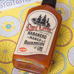 Red Clipper Habanero Mango Rockmelon lime 200ml stylised ChilliBOM Hot Sauce Club Australia Chilli Subscription Gifts