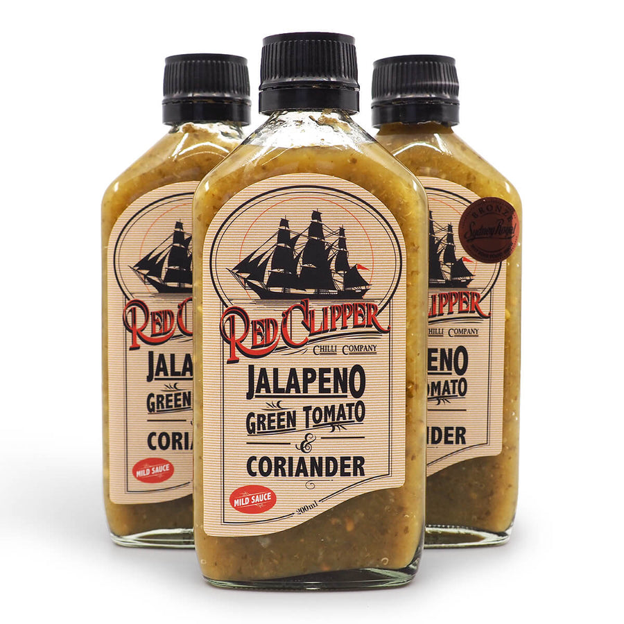 Red Clipper Jalapeno Green Tomato & Coriander Hot Sauce 200ml group jalapeño ChilliBOM Hot Sauce Club Australia Chilli Subscription Gifts SHU Scoville