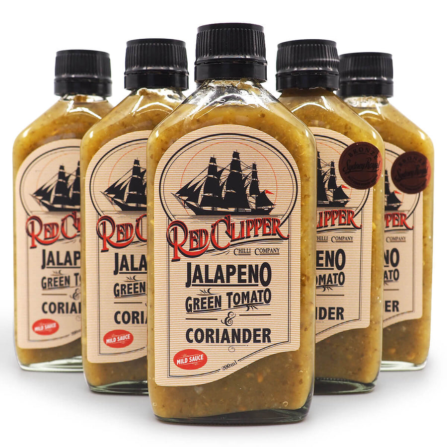 Red Clipper Jalapeno Green Tomato & Coriander Hot Sauce 200ml group2 jalapeño ChilliBOM Hot Sauce Club Australia Chilli Subscription Gifts SHU Scoville