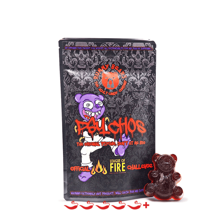 Rummy Bears Psychos Gummy Bears ChilliBOM Hot Sauce Store Hot Sauce Club Australia Chilli Sauce Subscription Club Gifts SHU Scoville league of fire
