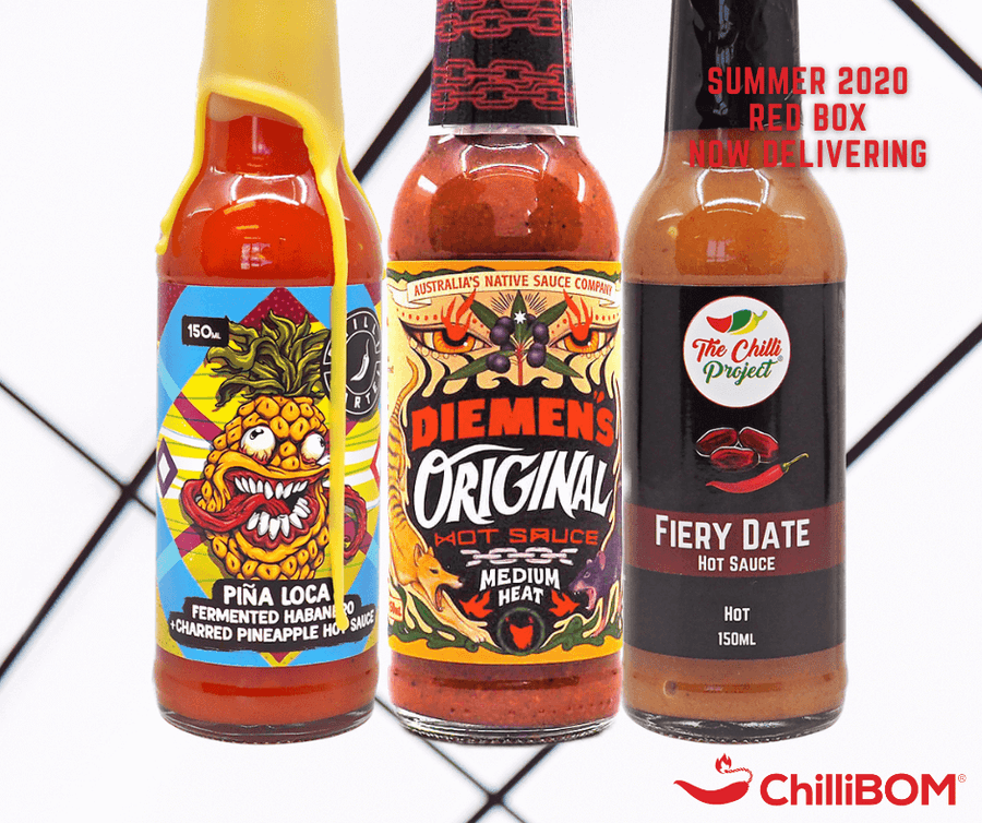 Summer 2020 ChilliBOM Red Box Subscription Hot Sauce Australia Scoville scale chillibomb