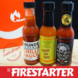 The Firestarter Hot Sauce Collection ChilliBOM Hot Sauce Club Carolina Reaper pepper sauce chilli sauce Father's Day for him