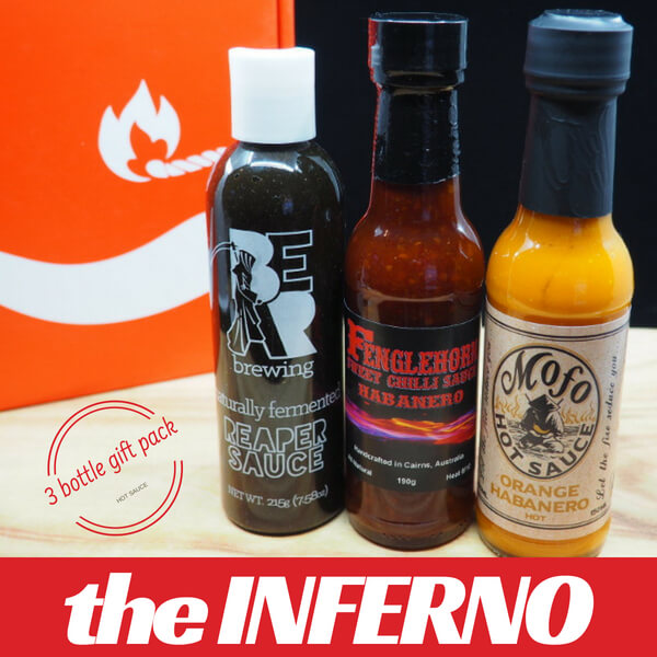 The Inferno Hot Sauce Collection ChilliBOM Hot Sauce Club Carolina Reaper pepper sauce chilli sauce Father's Day for him