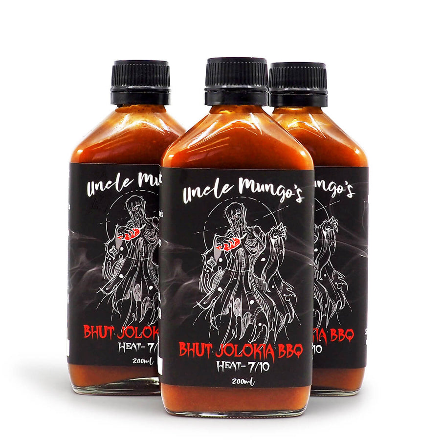 Uncle Mungo's Bhut Jolokia BBQ 200ml ChilliBOM Hot Sauce Store Hot Sauce Club Australia Chilli Sauce Subscription Club Gifts SHU Scoville group