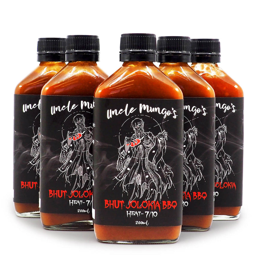 Uncle Mungo's Bhut Jolokia BBQ 200ml ChilliBOM Hot Sauce Store Hot Sauce Club Australia Chilli Sauce Subscription Club Gifts SHU Scoville groups