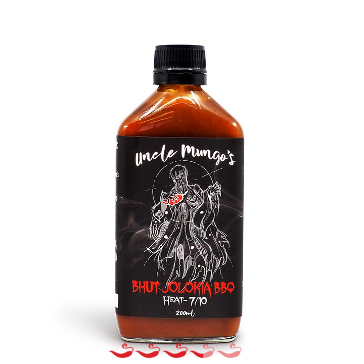 Uncle Mungo's Bhut Jolokia BBQ 200ml ChilliBOM Hot Sauce Store Hot Sauce Club Australia Chilli Sauce Subscription Club Gifts SHU Scoville