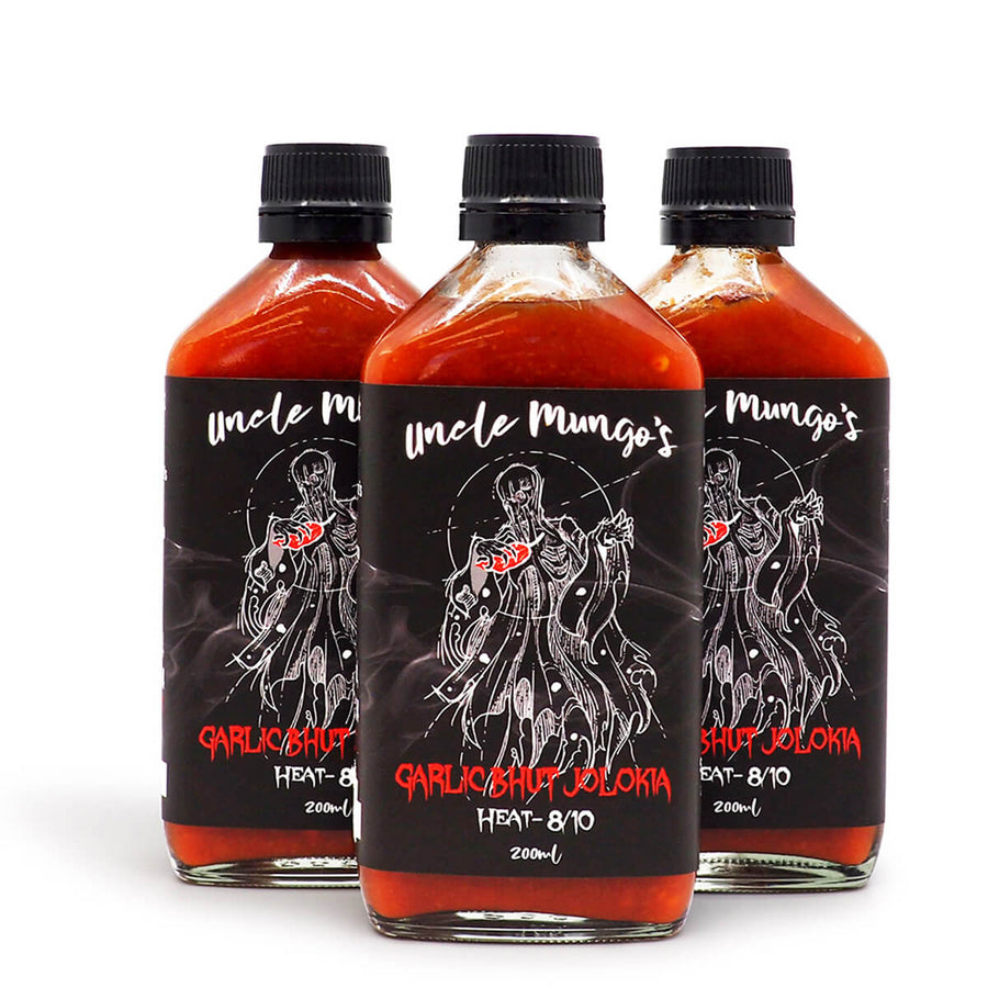 Uncle Mungo's Garlic Bhut Jolokia 200ml ChilliBOM Hot Sauce Store Hot Sauce Club Australia Chilli Sauce Subscription Club Gifts SHU Scoville hotsaucemania