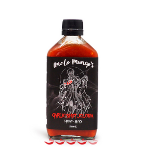 Uncle Mungo's Garlic Bhut Jolokia 200ml ChilliBOM Hot Sauce Store Hot Sauce Club Australia Chilli Sauce Subscription Club Gifts SHU Scoville