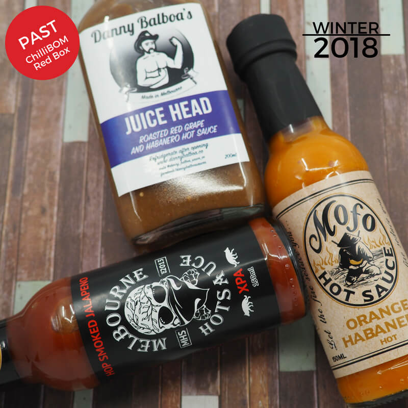 Winter 2018 ChilliBOM Red Box Subscription Hot Sauce Australia Scoville scale chillibomb