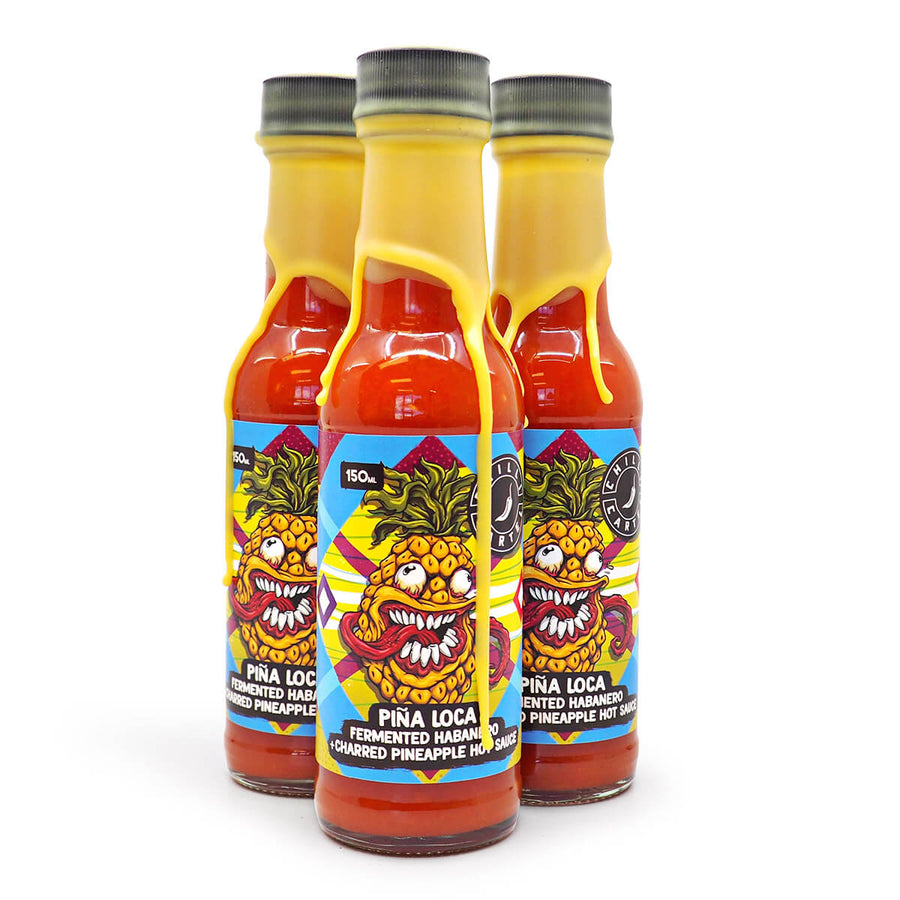 Chilli Cartel Pina Loca Fermented Habanero + Charred Pineapple Hot Sauce 150ml ChilliBOM Hot Sauce Store Hot Sauce Club Australia Chilli Sauce Subscription Club Gifts SHU Scoville matshotshop