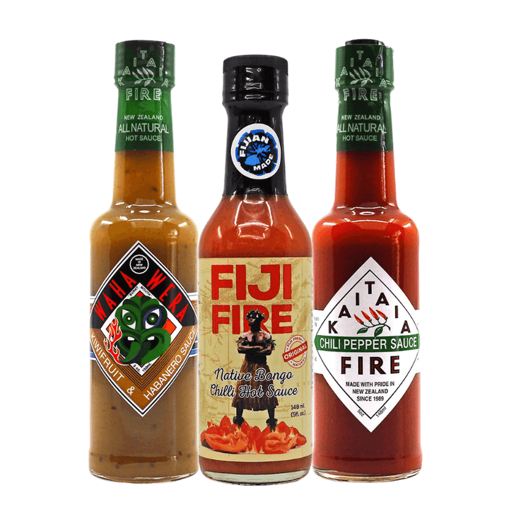 ChilliBOM South Pacific Hot Sauce Bundle Fiji Fire, Kaitaia Fire, Kiwi, Habanero, scoville