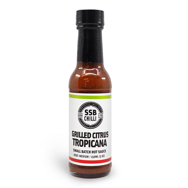 SSB Chilli Grilled Citrus Tropicana Small Batch Hot Sauce 150ml ChilliBOM Hot Sauce Store Hot Sauce Club Australia Chilli Sauce Subscription Club Gifts SHU Scoville