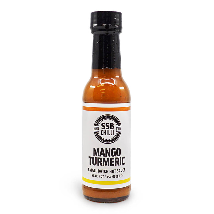 SSB Chilli Mango Turmeric Small Batch Hot Sauce 150ml ChilliBOM Hot Sauce Store Hot Sauce Club Australia Chilli Sauce Subscription Club Gifts SHU Scoville