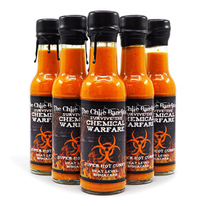 The Chile Banditos Survive The Chemical Warfare 150ml ChilliBOM Hot Sauce Store Hot Sauce Club Australia Chilli Sauce Subscription Club Gifts SHU Scoville group 7million extract SHU