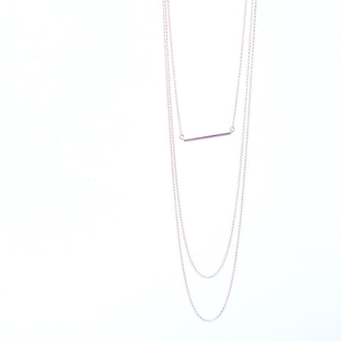 Blush Bar Layered Chain Necklace - lunarluxe