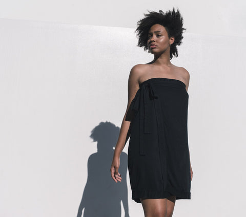 Elara Wrap Dress Black