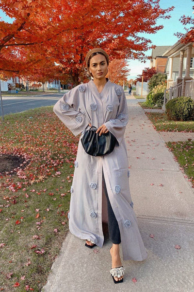 How To Style Open Abaya Kimono Designs Grey Flowers with Jeans