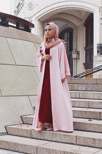 Where To Buy Fancy Abayas For Weddings Pink Open Abaya