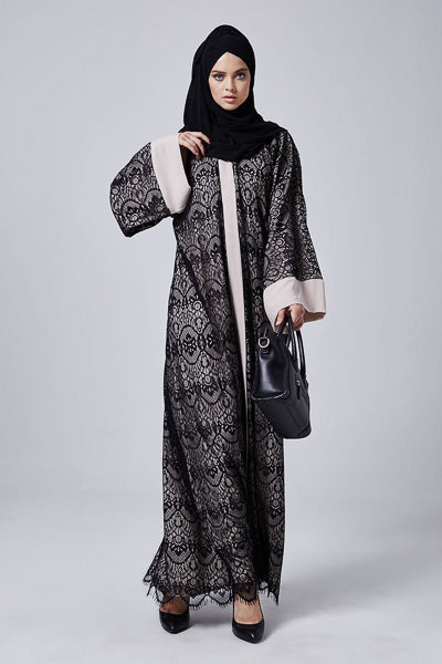 Abayas For Wedding Guest Black Beige Lace Abaya