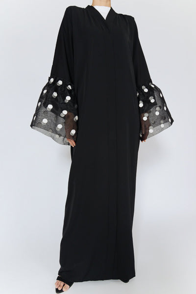 Modest Evening Dresses With Sleeves Polka Dot Black