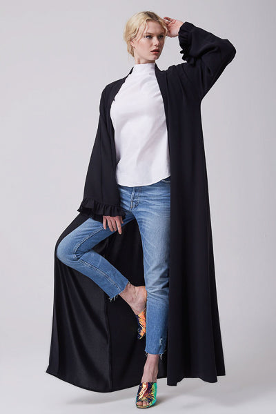 Hijab Fashion Style Black Plain Open Abaya