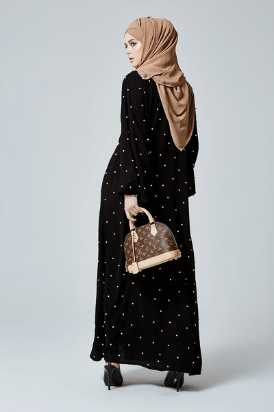 What are the Latest Abaya Designs 2020 Black Abaya with White Pearls