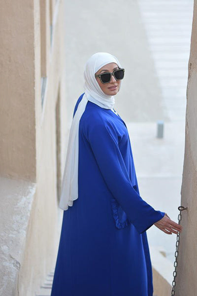 Modest Dressing Blue Abaya Frill Pockets