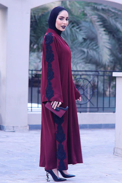 affordable red with black lace long abaya dress with hijab