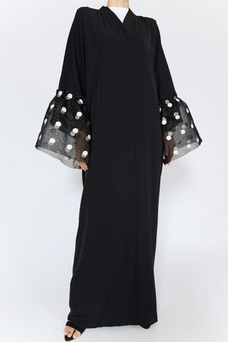 Reasons to Wear an Abaya Black with White Dot Tulle Sleeves