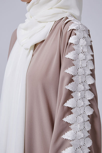 Women Clothing In Islam Beige Abaya with Lace Sleeves